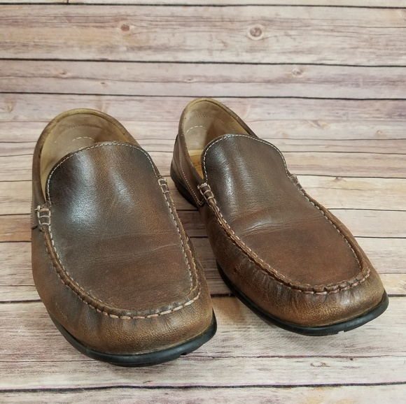 7c8fcd97b2 Ecco 43 Brown Leather Loafers Slip On Shoes